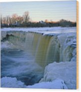 Waterfall With Bluish Icicles Wood Print