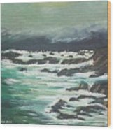 Waves In The Cove Wood Print