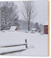 Wayside Inn Grist Mill Covered In Snow Storm Wood Print