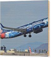 Westjet Boeing 737-8ct C-gwsz Magic Plane Phoenix Sky Harbor January 22 2016 Wood Print