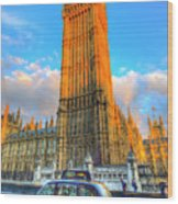 Westminster Bridge And Taxi Wood Print