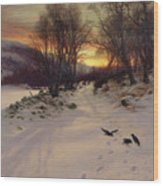 When The West With Evening Glows Wood Print by Joseph Farquharson