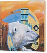 White Bear Goes Southwest Wood Print
