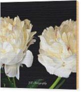 Peonies In Cream Wood Print