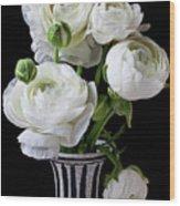 White Ranunculus In Black And White Vase Wood Print by Garry Gay