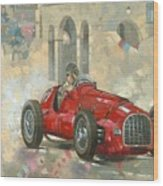 Whitehead's Ferrari Passing The Pavillion - Jersey Wood Print by Peter Miller
