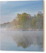 Whitford Lake In Fog Wood Print