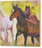 Wild Horses Running Wood Print