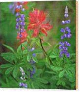Wildflowers In Mountains Wilderness Wood Print
