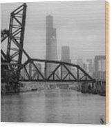 Willis Tower In Fog Wood Print
