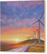 wind turbines in Oiz eolic park Wood Print