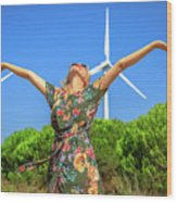 Wind Turbines Woman Wood Print