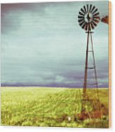Windmill Against Autumn Sky Wood Print