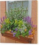 Window Box Blooms Wood Print