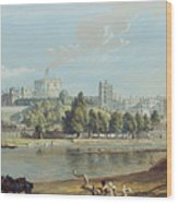 Windsor Castle From The Eton Shore Wood Print