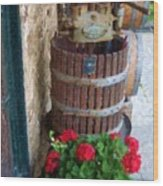 Wine And Geraniums Wood Print