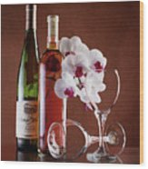 Wine And Orchids Still Life Wood Print