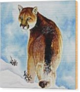 Winter Cougar Wood Print