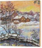 Winter Evening. Wood Print