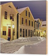 Winter In Historic Downtown New Bedford Wood Print