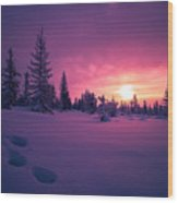 Winter Lanscape With Sunset, Trees And Cliffs Over The Snow. Wood Print