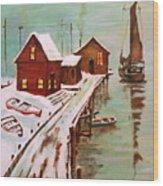 Winter Sail Wood Print