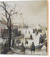 Winter Scene On A Canal Wood Print