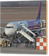 Wizz Air Jet And Fire Brigade   Wood Print