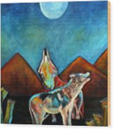 Wolves Howling At The Moon Wood Print by Pilar  Martinez-Byrne