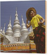 Woman At Golden Temple In China Wood Print