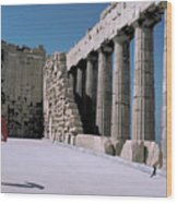 Woman At The Parthenon In Athens Wood Print
