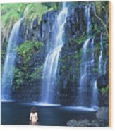 Woman At Waterfall Wood Print