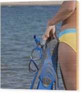 Woman Getting Ready To Go Snorkeling Wood Print