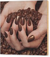 Woman Holding Coffee Beans In Her Hands Wood Print