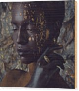 Woman In Splattered Golden Facial Paint Wood Print