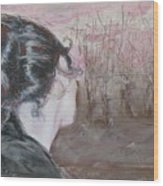Woman Looking Over The Street Wood Print