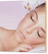 Woman Relaxing On Massage Table Wood Print