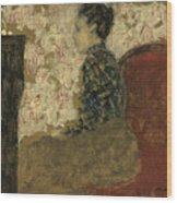 Woman Sitting By The Fireside Wood Print