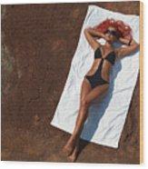 Woman Sunbathing Wood Print by Oleksiy Maksymenko