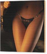Woman Wearing Black Lacy Panties Wood Print