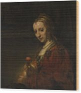 Woman With A Pink Wood Print