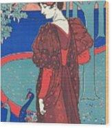 Woman With Peacocks Wood Print