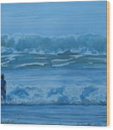Women In The Surf Wood Print