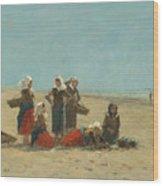 Women On The Beach At Berck Wood Print