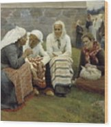 Women Outside The Church At Ruokolahti Wood Print