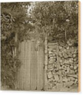 Wood Gate In A Wall Of Stones Wood Print