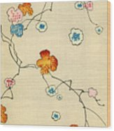 Woodblock Print Of Fall Leaves Wood Print
