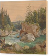 Wooded River Landscape In The Alps Wood Print