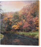 Woodland River Wood Print