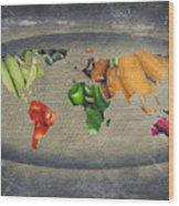 World Fruits Vegetables Map Wood Print